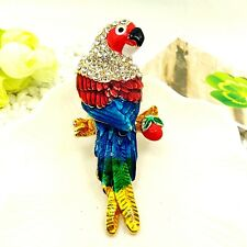 Betsey Johnson Lovely Parrot Crystal Pendants chain Sweater chain necklace C139