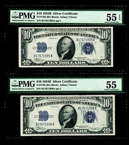 2 Pcs 1934 B $10 Silver Certificates PMG  AU55/AU55 EPQ
