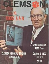 1973 CLEMSON vs TEXAS A&M  FOOTBALL PROGRAM (ROCK NORMAN CVR