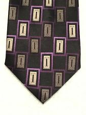 "COVINGTON MENS TIE BLACK PURPLE GRAY BOXED PATTERN WITH A HINT OF GOLD 60""X4"""