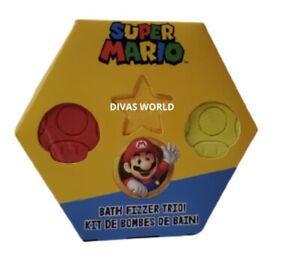Super Mario Bath Fizzer Trio Gift Set 3 x 40g Kids Bath Bombs Christmas Present