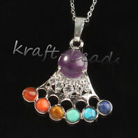 Silver Plated 7 Gemstone Beads Crown Chakra Healing Point Stone Pendant Necklace