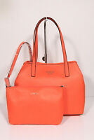 Neu Guess elegante Handtasche Shopper mit Pochette Vikky Orange Saffiano Optik
