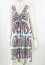 Live and let Live Dress Medium Pink Blue White Paisley Stretch Sleeveless Womens