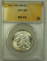 1937 US Walking Liberty Silver Half Dollar 50c Coin ANACS MS-65 Beautiful Gem