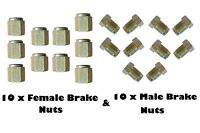"20 pkt 10mm Short Brake Pipe Nuts 10 x MALE 10 x FEMALE for 3/16"" pipe Metric"