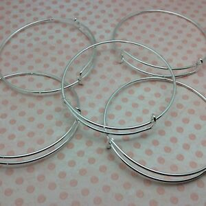 10 x Silver Expandable Wire Bangle Blanks Charm Bracelet Jewellery 70mm diameter