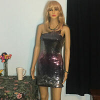 AS U WISH - DRESS - Silver Gradient Sequin - Women's Size Small