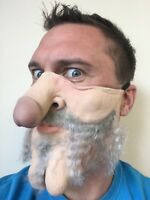Funny Half Face Mask Old Man Dick Nose Willy Face Grandad Gramps Grey Hair Stag