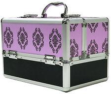 Large Viola Alluminio Bellezza Scatola Cosmetici Damascato Per Unghie Make Up Custodia VANITY SALONE