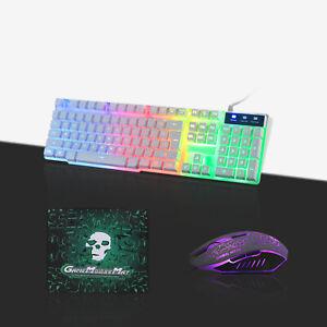Gaming Keyboard and Mouse Set Rainbow LED Wired USB Illuminated for PC Laptop UK