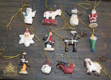 Set of 12 Miniature Christmas Tree Decorations Santa Snowman Reindeer (B43)