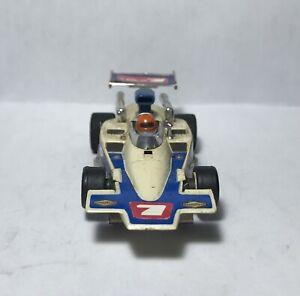 HTF Rare VTG Aurora AFX G+ F1 Lola T-330 White w/Blue Body #7 w/ G-plus Chassis