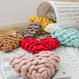 Heart Shaped Handmade Weave Knot Pillow Cushion Sofa Bed Office Home Decor Solid