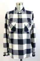 J CREW Buffalo Plaid FLANNEL POPOVER SHIRT Zip Jacket Pockets RECENT Modern S