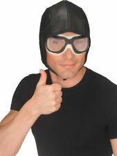 Aviator Helmet Goggles Vintage Fighter Jet Pilot Costume Kit Hat Flying Wartime