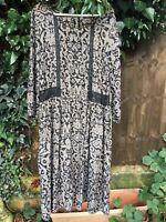 Marks & Spencer Black Beige Lace Trim Grunge Boho Indie Ditsy Print Dress Uk 16