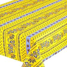 """LE CLUNY, LISA YELLOW-BLUE, FRENCH PROVENCE COATED COTTON TABLECLOTH, 60"""" X 120"""""""