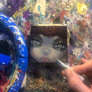 Tiny Treasure 181 Jasmine Becket-Griffith ORIGINAL PAINTING big eyes fairy art