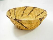 Vintage Papago Woven Yucca and Devil Claw Coiled basket with Diagonal Design