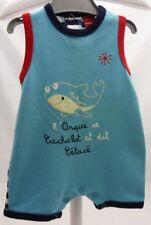 Babygro combishort bleu et rayures derrière motif orque bébé 3 mois