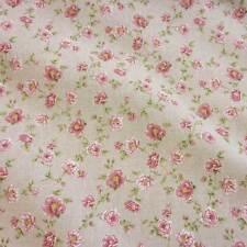 Stoff Meterware Baumwollstoff pflegeleicht natur Rosen rosa grün