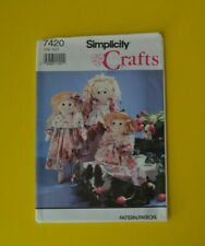 "Simplicity 7420 sewing pattern, 24"" rag doll and clothes"