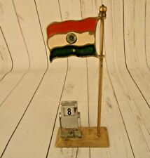 Old Brass National Flag India Table Decor / Home Decor With Date Box