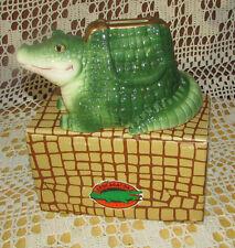 Aligator CROCAGATOR Ceramic BANK New 1990 VANDOR #2156 w Stopper Tag & Box Korea