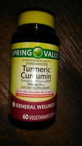 🌱Spring Valley~Turmeric Curcumin~550mg~60 Veg Capsules~For Immune System Health