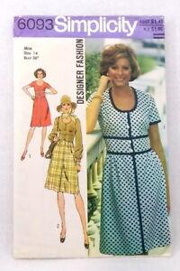 Simplicity 6093  designer fashion button front dress size 14 petitable vintage