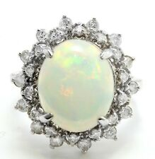 6.93 Carat Natural Ethiopian Opal and Diamonds 14K Solid White Gold Women Ring