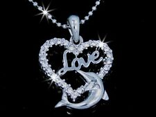 Love Dolphin Heart Silver Tone Austrian Crystal Pendant Necklace Mother's Day M3