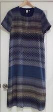 Garnet Hill Silk 100% Patterned Blue Dress 10 EUC