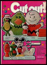 1969 Avon Vintage PRINT AD Cosmetics Cut Out Charlie Brown Mickey Mouse 1960s