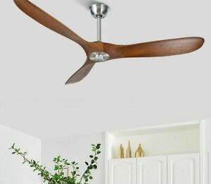 Vintage Ceiling Fan Wooden Solid With Lights Exquisite Aluminum Decorative Cover