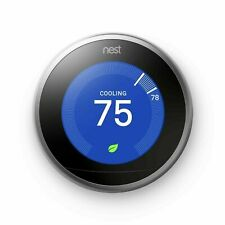 Nest 3rd Generation Learning Programmable Thermostat - Stainless Steel New Box