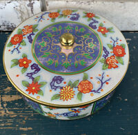Vintage Daher Round Gold Trimmed/Birds/Flowered Tin Covered Container England