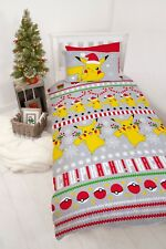 COTTON MIX - POKEMON SINGLE DUVET QUILT COVER SET BOYS GIRL KIDS BEDROOM SET