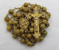 "† OLD ""LILLY OF THE VALLEY"" FOUND IN SAFE VINTAGE GOLD WASH ROUND WOOD ROSARY †"