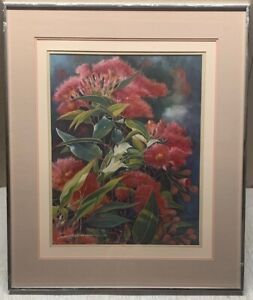 Vintage ALBERT BECHELY CRUNDALL 'Red Flowers Close Up' STILL LIFE Painting