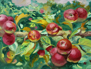 Original Painting Oil on Gessobord Apples in July