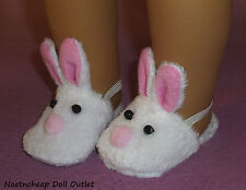 """Pink Bunny Slip on Slippers Fits 18"""" American Girl Doll Clothes Bedroom Shoes"""