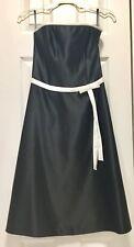 Scott McClintock Dress Black Satin White Bow Belt A line Strapless 6P, MSRP$139