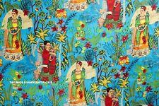4.6m Indio Algodón Puro Tela Frida Kahlo Estampado Hecho a Mano Kimono Tela
