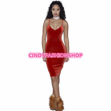 USA Women Ladies Velvet Sleeveless V Neck Backless Club Party Bandage Dress