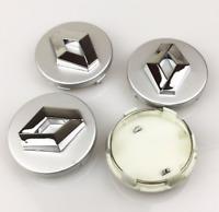 Silber 4 x 60mm Alufelge Nabenkappen Nabendeckel Satz für Renault