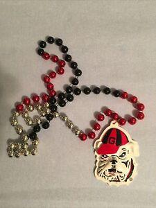 Georgia Neckace, Bulldog, Beads, Red, Black, Silver, VGUC