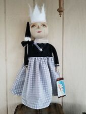 """PRIMITIVE CHRISTMAS WINTER SNOW LADY ART DOLL SNOWMAN HEAD WAND """"ICE QUEEN""""Large"""