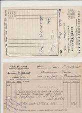 FACTURES (2) : L.JACQUES DOLE et Georges THIEBAUT à ARBOIS-GROSSISTES EN VINS